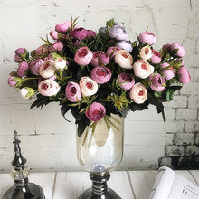 9 หัว MINI ผ้าไหมประดิษฐ์ดอกไม้ Peony Flores Fleur artificielles Camellia สำหรับตกแต่งคริสต์มาสหน้าแรกปลอมดอกไม้ช่อดอกไม้
