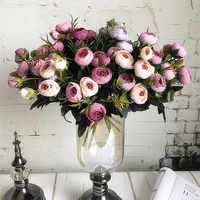 9 cabezas mini flores artificiales de seda peonía flores flor Artificial Camelia para el hogar Navidad decoración de flor falsa ramo