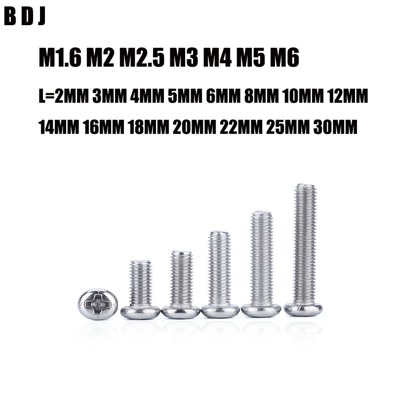 GB818 M1.6 M2 M2.5 M3 M4 M5 M6 ISO7045 DIN7985 304 Stainless Steel Cross Recessed Pan Head PM Screws Phillips Screws SUS304 300pcs set iso7045 din7985 gb818 m2 m2 5 m3 nickel plated cross recessed pan head phillips screws hw028