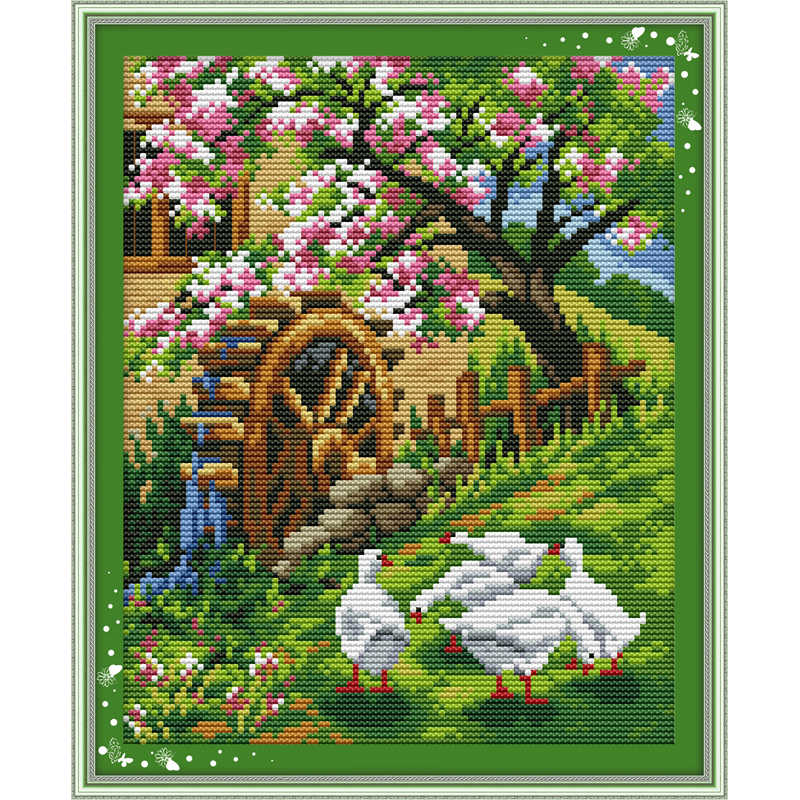 The garden is filled with the brightness of spring Chinese cross stitch kits Ecological cotton printed Christmas decorations DIY