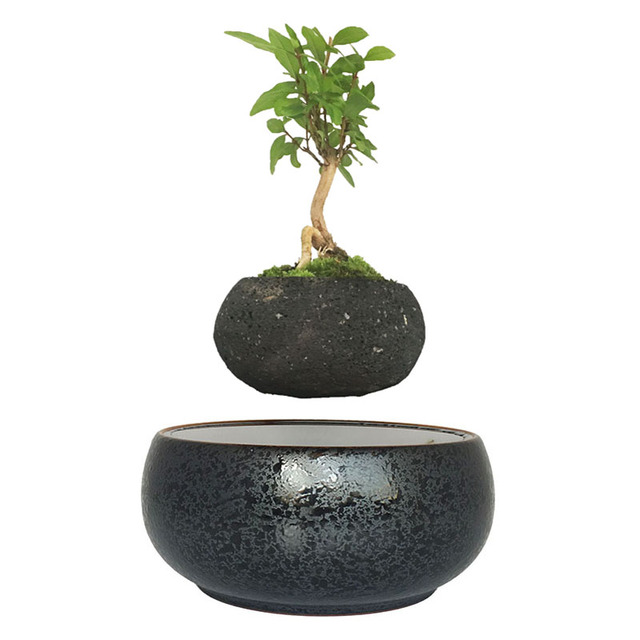 2018 Japan Magnetic Levitation Floating Plants Ceramics Glaze Bonsai Pot Birthday Gifts For Men Free Shipping