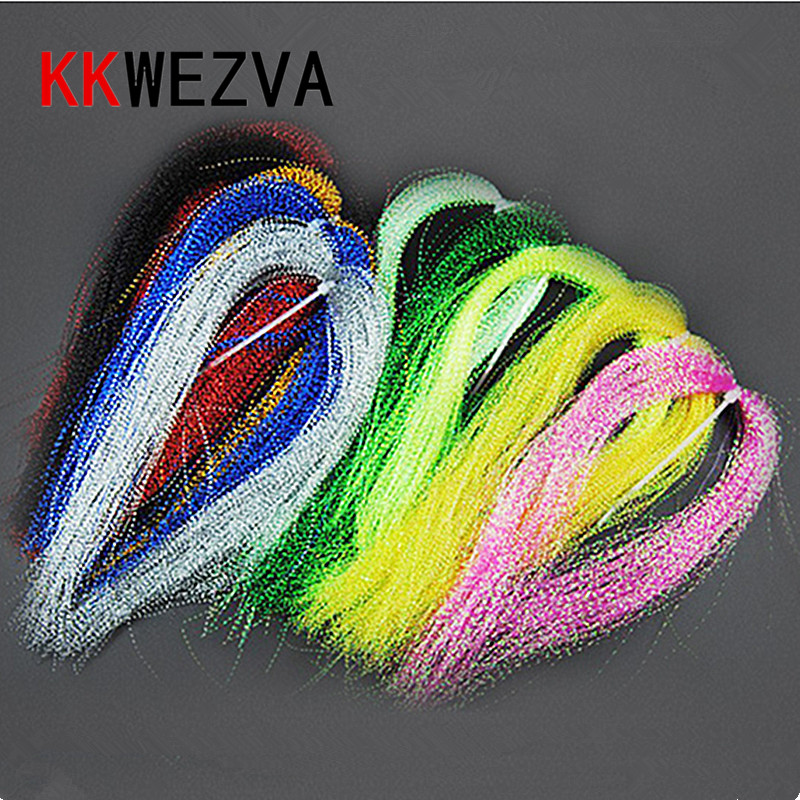 spiral Tinsel colorful Flat Glittering Crystal Flash Tinsel Hair Fibers Fly Fishing Flies Tying materials for Nymph Decoration