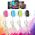 US EU Plug 3USB Wall Home Travel AC Charger With USB Cable For Android Samsung HTC xiaomi redmi Mobile Phone