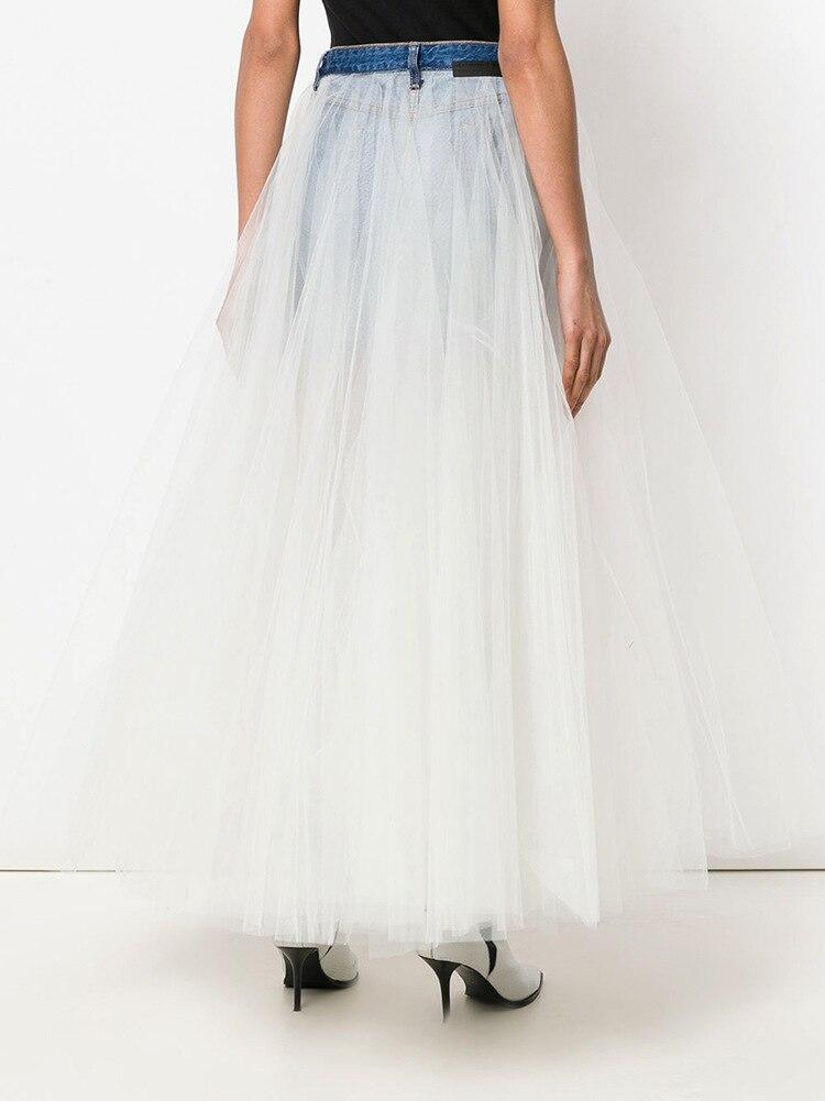Dress White Negative Fashion Stitching Ins Half 2019 Skirt Super Denim Length Summer Spring Wear New Fire And Mesh Positive Fairy fpfq1Hx6w