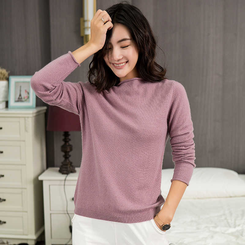 2018 High Quality 100% Cashmere Wool Soft Skin Friendly Casual Loose Sweaters Pulls Femme