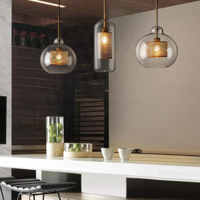 Postmodern Nordic Iron Glass Bubbles LED Pendant Lights For Dinning Room kitchen Restaurant Suspension Luminaire lamp