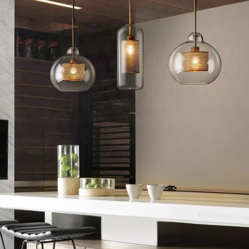 Bolhas De Vidro pós-moderno Nordic Ferro LEVOU Pingente Luzes Para Sala De Jantar cozinha do Restaurante lâmpada Luminária de Suspensão