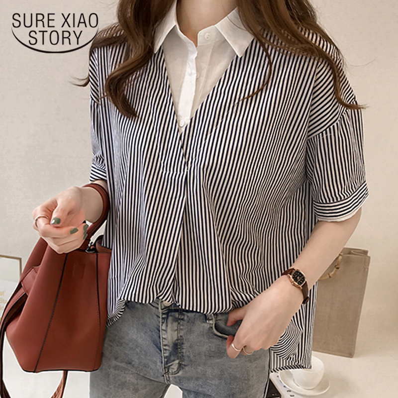 2018 new summer striped   blouse     shirt   plus size female office lady style women clothing short sleeved   blouses   women tops 0614 40