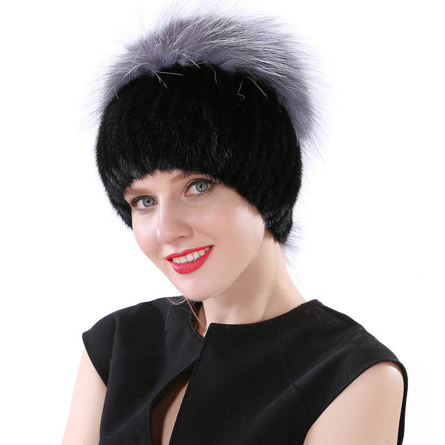 Valpeak 2018 Winter Hat Female Real Knitted Mink Fur Hat Russian Fashion  Furry Warm Elastic Women 0be4610c1cd