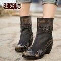 Outono e botas de inverno botas de couro genuíno handmade personalidade retro vintage acabamento grosso-salto alto botas livre shiping