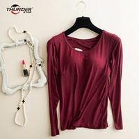 Women S Modal Build In Padded Bra T Shirt Long Sleeve Breathable Clothing Female Bottoming T