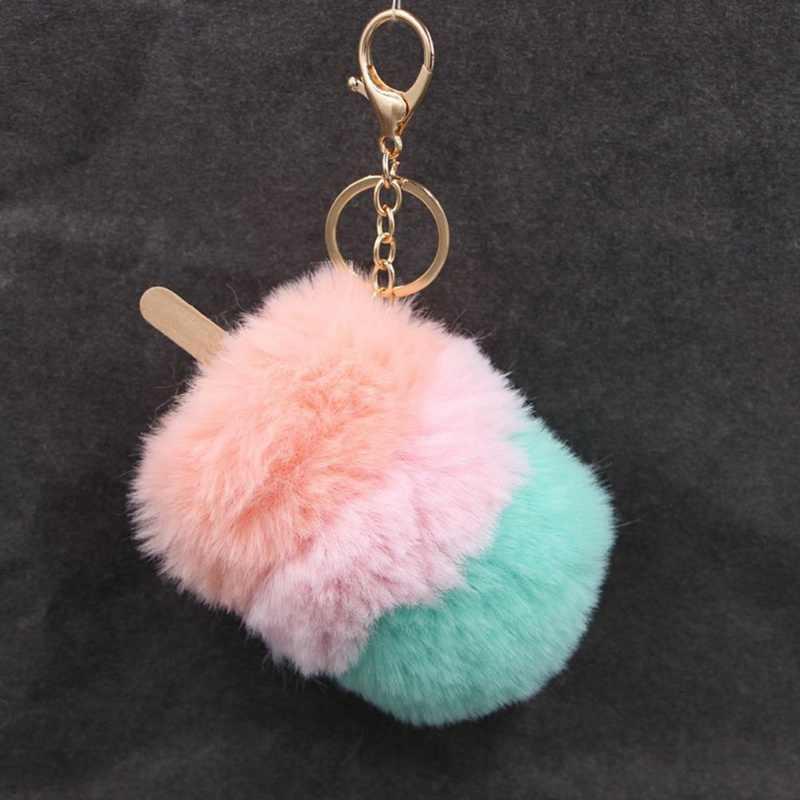 Novo Estilo Modo Multi-Cor De Pele Mais Recente Chaveiro Pompom Pompom Keychain Sorvete Picolé Criativo Chave Bola De Pêlo anel Para Presentes