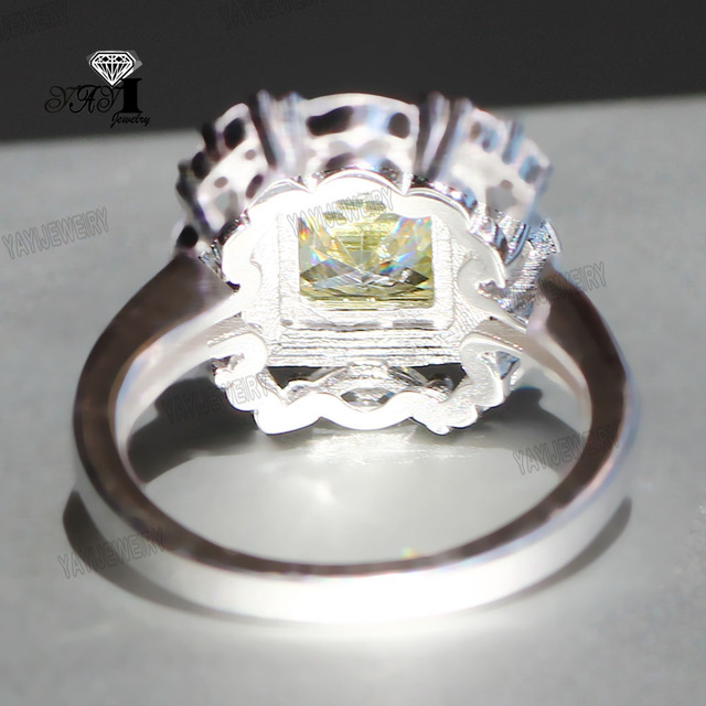 YaYI Jewelry Princess Cut 6.3  CT Green Zircon Silver Color Engagement Rings wedding Heart Rings Girls Party Rings Gifts 830