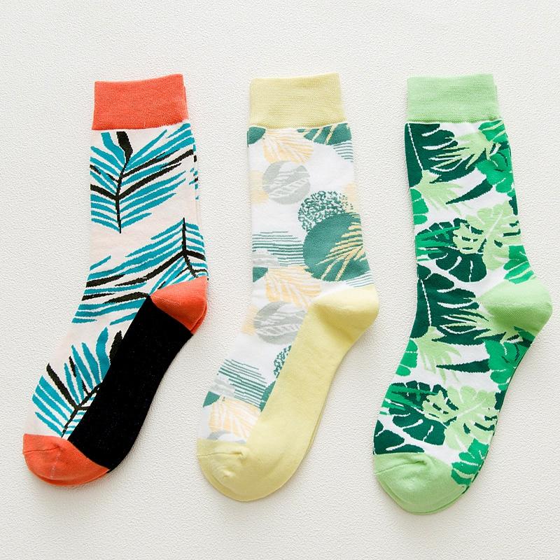 2018 Fashion Style   Socks   Leaves Green Monstera Short Pattern Funny Cotton   Socks   Women Winter Men Unisex Plant Short   Socks   Female