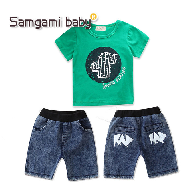 f9a28bd2d37f8 SAMGAMI BABY Boys Sets 2018 Summer Toddler Clothing Cotton Green T shirt  Tops+denim Shorts 2pcs Boy Clothes Set Kids Suits