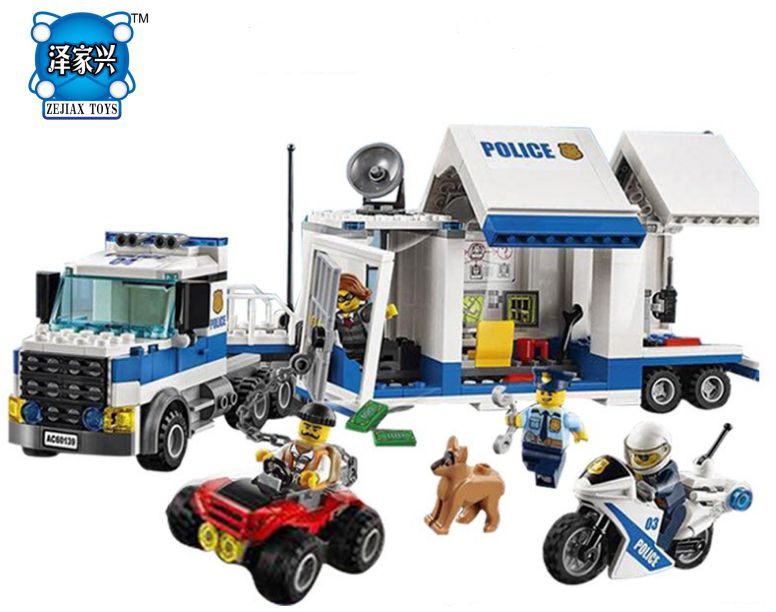 2017 City Mobile Command Center Building Brick Figure DIY Education Boys Police Toys Gift Compatible Lepines mobile work center