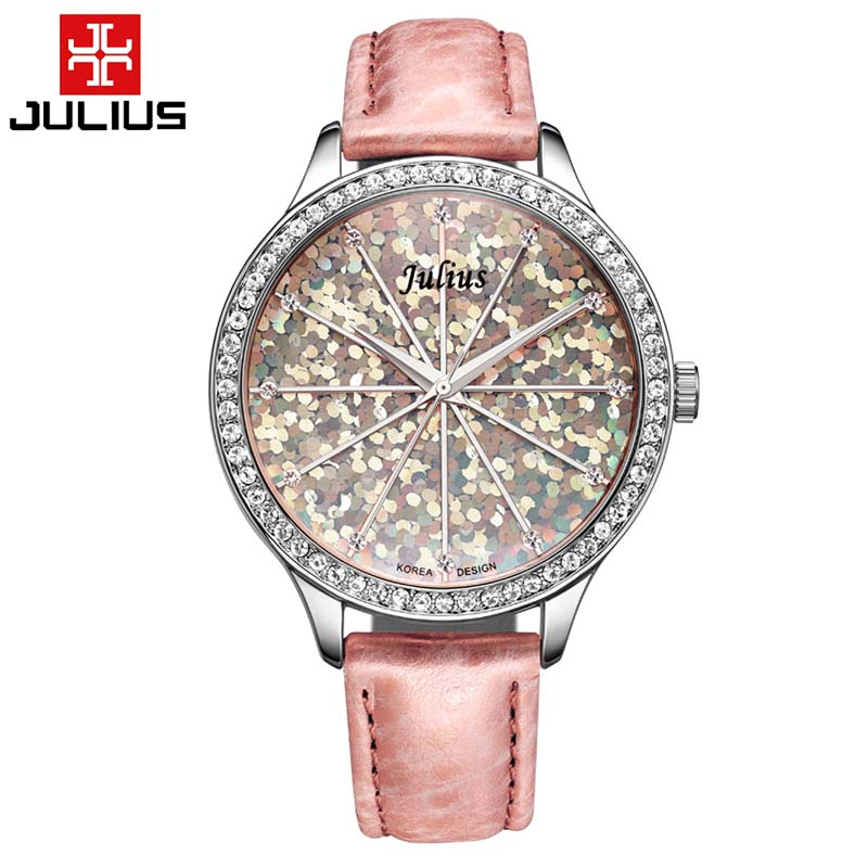 Top Julius Lady Woman Wrist Watch Big Fashion Hours Dress Bracelet Shining Scale Leather School Girl Birthday Gift 2015 blank diaries journals notebook note book a6 pu cover