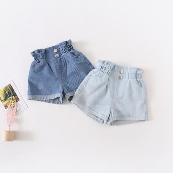 2019 lato nowy nabytek koreański styl bawełna czysty kolor wysokiej talii cały mecz moda seksowne krótkie spodnie dla ślicznych słodkich dziewczynek tanie i dobre opinie TaoziBaby COTTON Szorty Pasuje prawda na wymiar weź swój normalny rozmiar Dziewczyny b1904034 Na co dzień Elastyczny pas