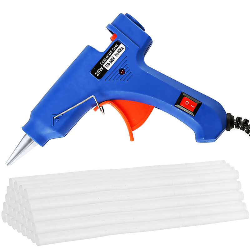 Hot Melt Glue Gun With 30pc 7mm*200mm Glue Stick Industrial Mini Guns Thermo Electric Heat Temperature Tool