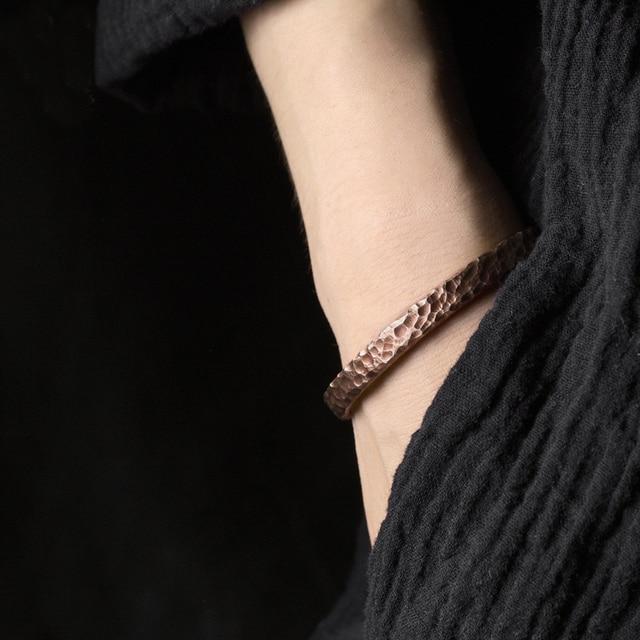 Bracelet rustique Martelé cuivre Viking fait main  2