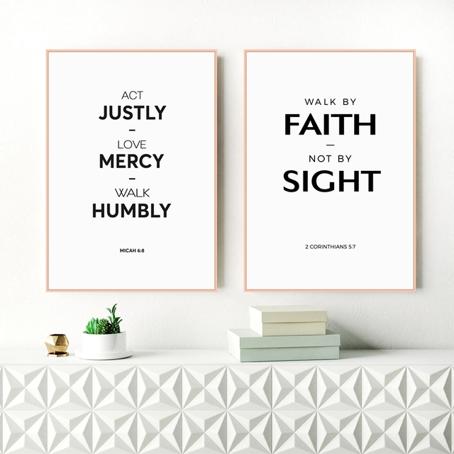 Bible Verse Quote Canvas Print Wall Art , Love, Mercy Christian ...