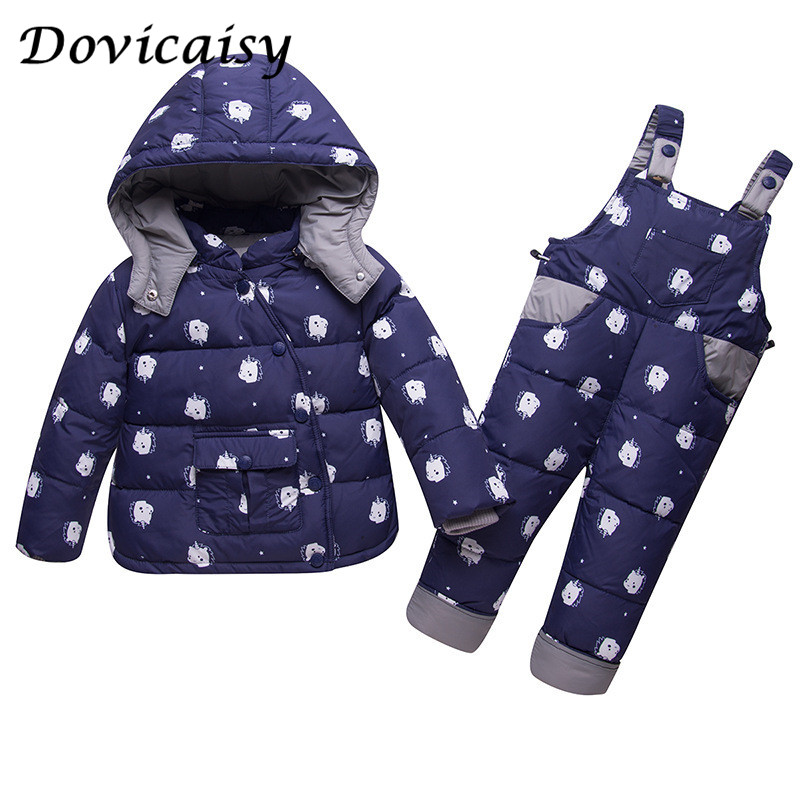 Winter Children's Clothing Sets Russia Baby Girl Ski Suit Sets Boy Outdoor Warm Kids Down Coats Jackets+suspender Trousers russia baby girl ski suit sets winter children clothing set boy s outdoor sport kids down coats jackets trousers 30degree 30