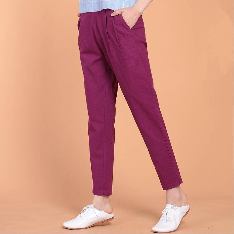 Autumn 2017 Spring Summer Women cotton Linen Pants Casual ...