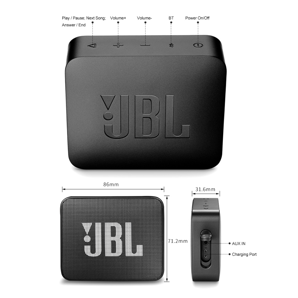 JBL GO2 Wireless Bluetooth Speaker With IPX7 Waterproof Rechargeable Battery And Mic 9