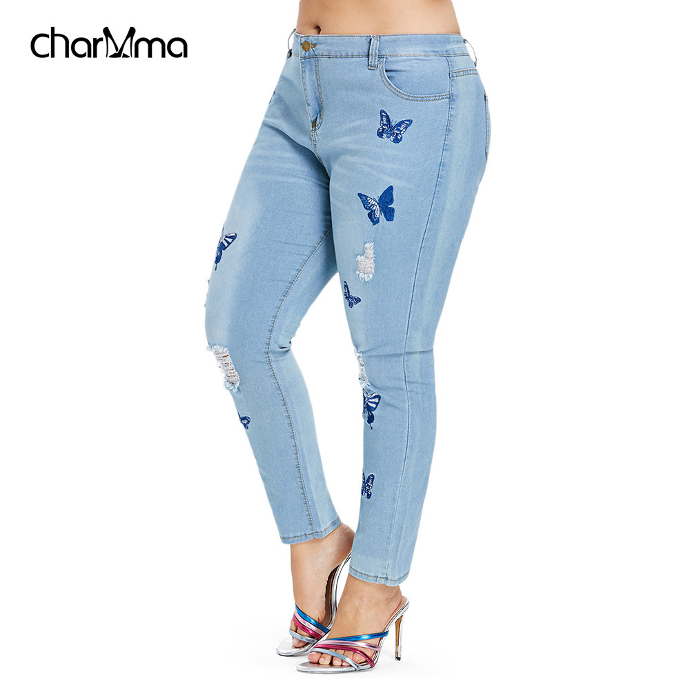 Plus Size   Jeans   Women Distressed Embroidered Denim Pants Skinny High Waist Zipper Fly Pencil Pants   Jeans   Trousers cowboy pants