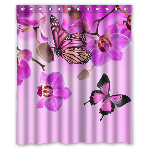 Fabric butterfly shower curtain - Online Buy Wholesale Butterfly Bathroom Sets From China Butterfly