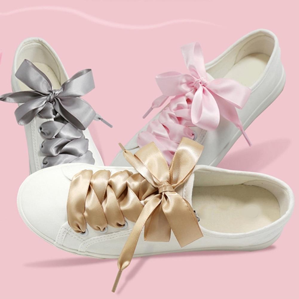 1 Pair 110cm Flat Silk Shoe Laces Satin Silk Ribbon Sneaker Shoe Strings 4cm Wide Solid Color Sports Outdoor Shoelaces Cordones