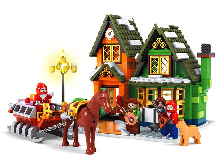 Ausini 860PCS Santa Claus and Christmas Carriage City Post Office Building Block Sets Model Toys Compatible With Legoe inflatable cartoon customized advertising giant christmas inflatable santa claus for christmas outdoor decoration