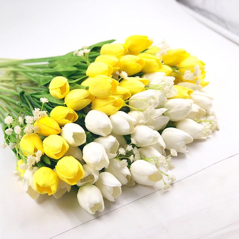 iPOPU 12pcs Lalele flori artificiale pentru casa de nunta Party PU Real Touch Flori Nunta Flori decorative & Coroane