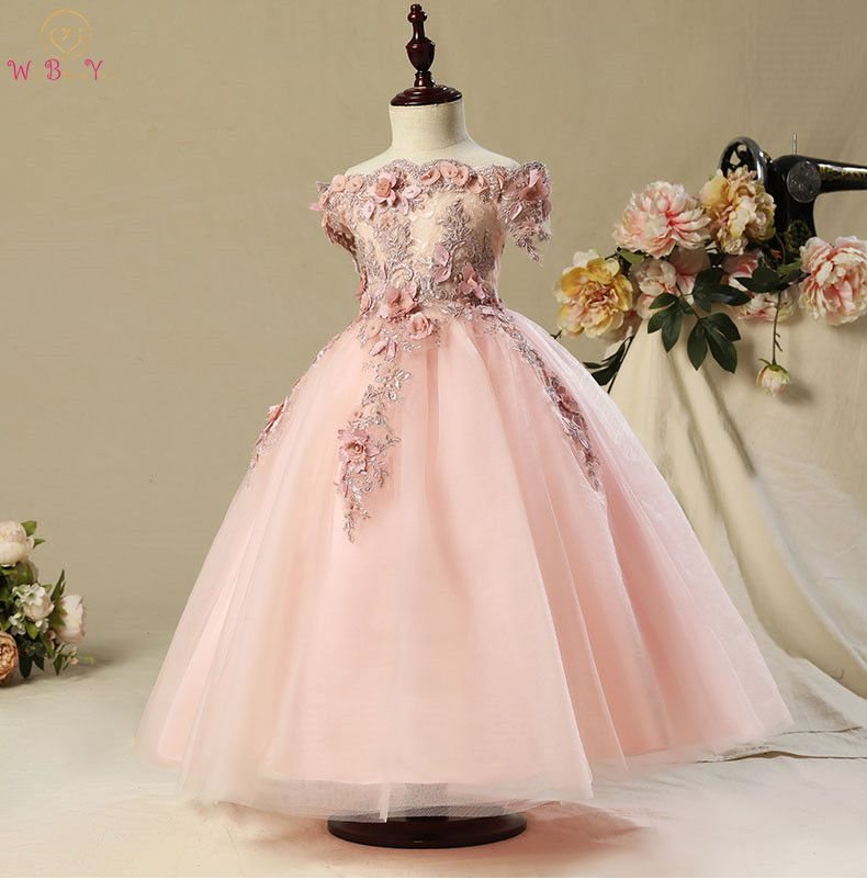 Walk Beside You Pageant Dresses for Girls Flower Girl Dresses Pink Tulle Floral Lace Appliques Beading
