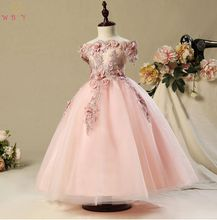 Walk Beside You Pageant Dresses for Girls Flower Girl Dresses Pink Tulle Floral Lace Appliques Beading Ball Gown Floor Length new arrival pageant dresses for girl appliques o neck ball gown flower girl dresses tea length wedding dress vestidos longo