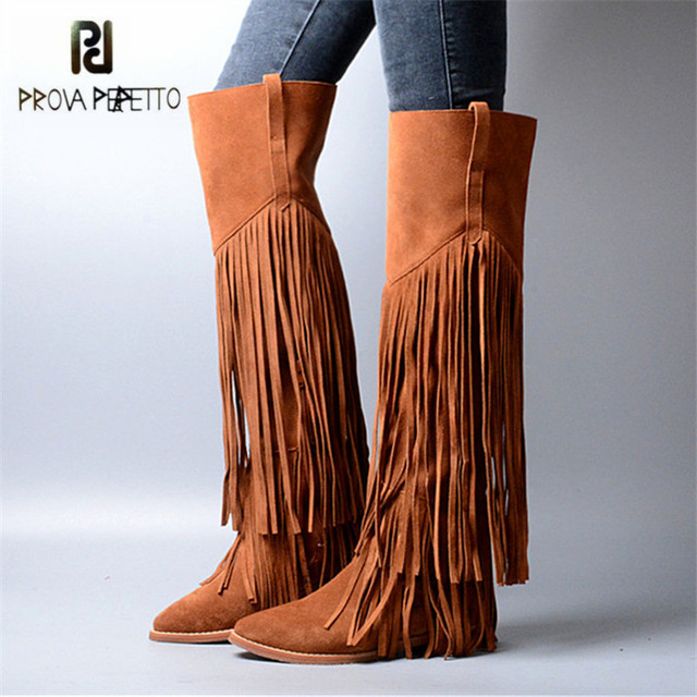 6f6a67eabe64 Prova Perfetto Full Tassels Women Thigh High Boots Pointed Toe Fringed  Suede Over the Knee Boots Autumn Winter Flat Knight Boot