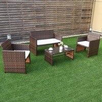 Giantex 4 PC Rotan Patio Furniture Set Taman Rumput Sofa Kursi Empuk Rotan Sofa Baru Garden Set HW57031