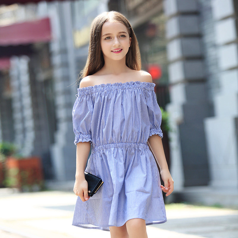 цена 2017 Teens Girls Blue Stripe Dress Navy Style Off Shoulder Dresses Frock Design Cute for Kids Age 8 9 10 11 12 13 14 Years Old