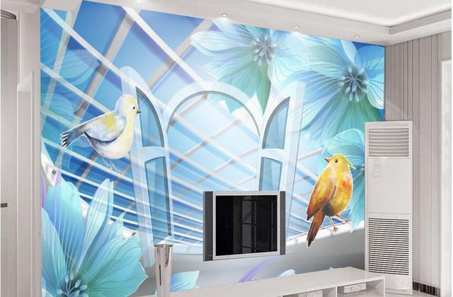 Moderne slaapkamer behang d creatieve behang blauw warme en