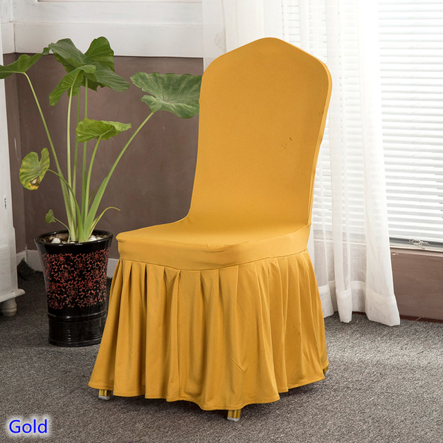Dining Chair Cover Luxury Spandex Skirt Chair Cover Gold Colour Ruched  Lycra Spandex Stretch Chair Cover