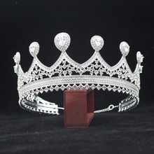 hot deal buy adjustable zirconia and crystal bridal tiara queen king crown girl/women prom hair decorations wedding hair jewelry accessories