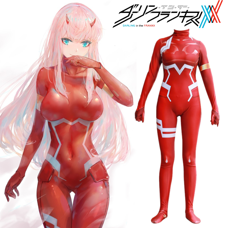 Darling In The Frankxx 02 Cosplay Costumes Zentai 3D Print Cosplay Costumes Zero Two Spandex Bodysuit Female Girls Jumpsuits