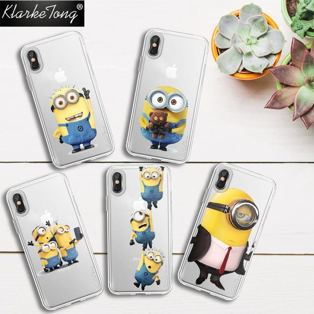 81825be714 KlarkeTong New Design Despicable Me Yellow Minions Cover Case For iPhone X  8 8Plus Soft Silicone Transparent Luxury Phone Coque
