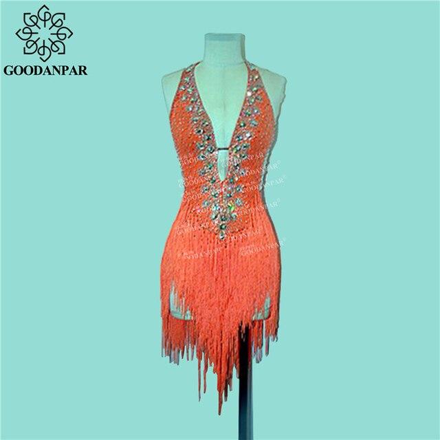 GOODANPAR Flapper Fringe Latin Dance Dress Women Ladies Costume With Bodysuit Bra Salsa Samba Rumba Competition Dance Wear