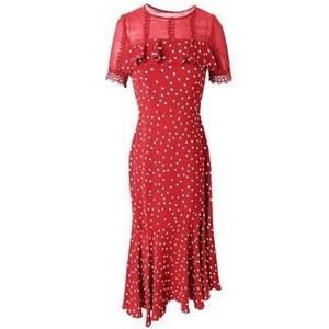Image 3 - 2019 新しい高品質夏フリル女性ヴィンテージプリントシフォンドレス赤プラスサイズ半袖ロングマーメイドパーティードレス