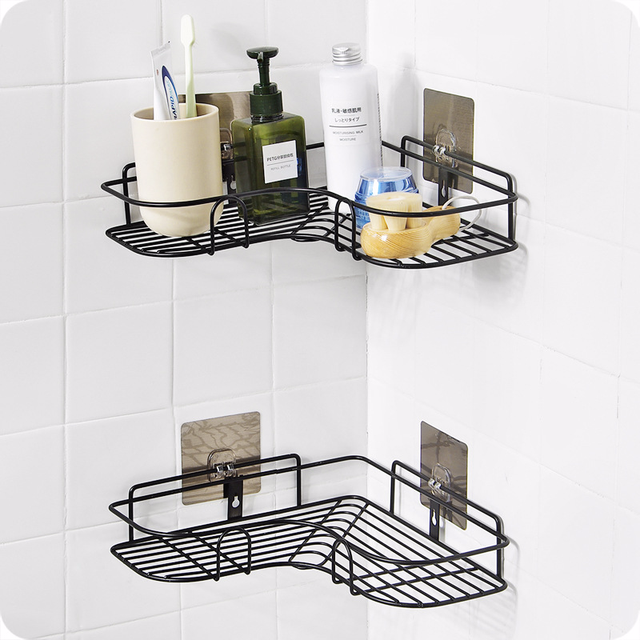 Black Iron Bathroom Corner Shelf Cosmetic Rack With Single Lever Households
