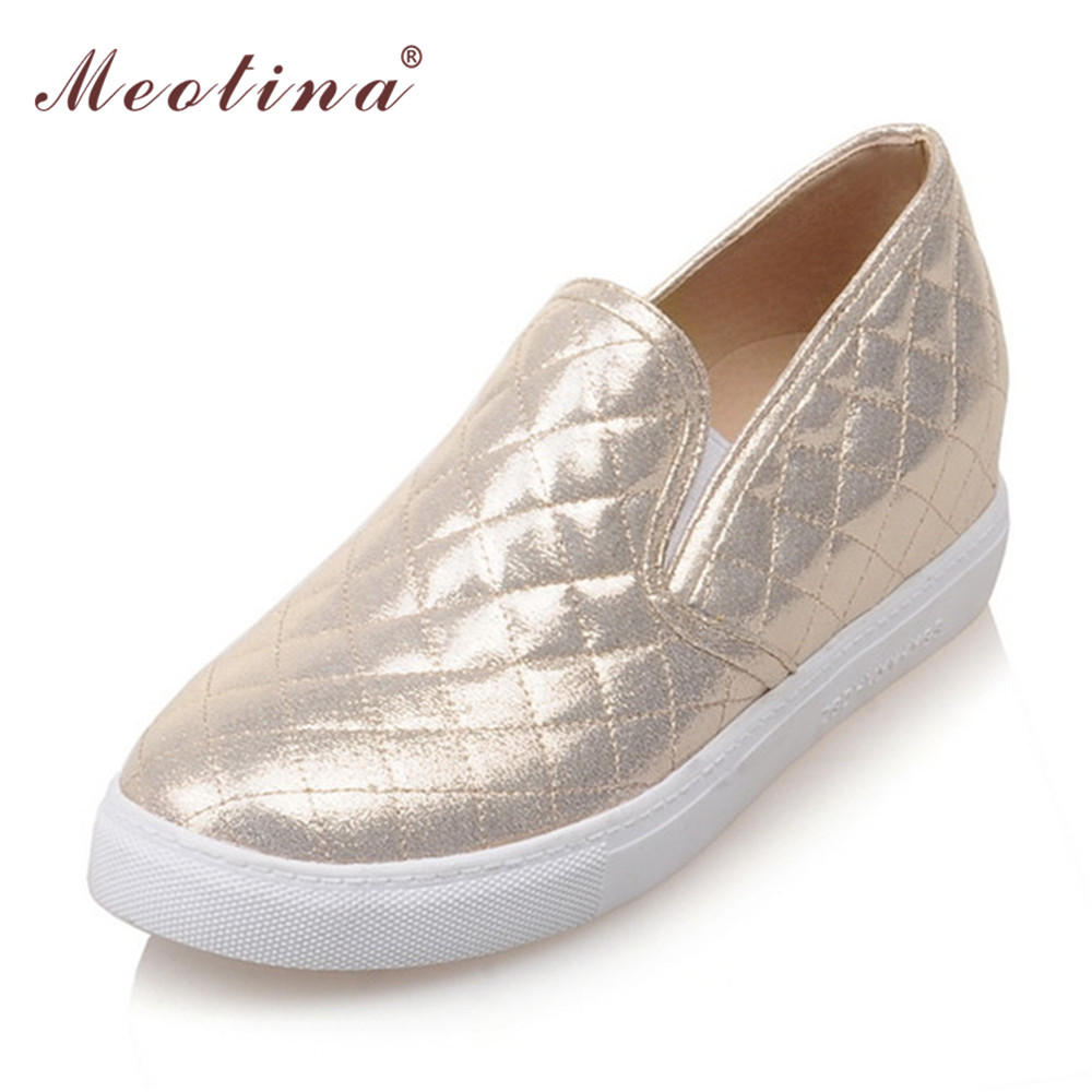 Meotina Shoes Women Round Toe Flats Slip On Flat Shoes Loafers Ladies Shoes Height Increasing Footwear Sliver Gold Large Size 10 meotina brand design mules shoes 2017 women flats spring summer pointed toe kid suede flat shoes ladies slides black size 34 39