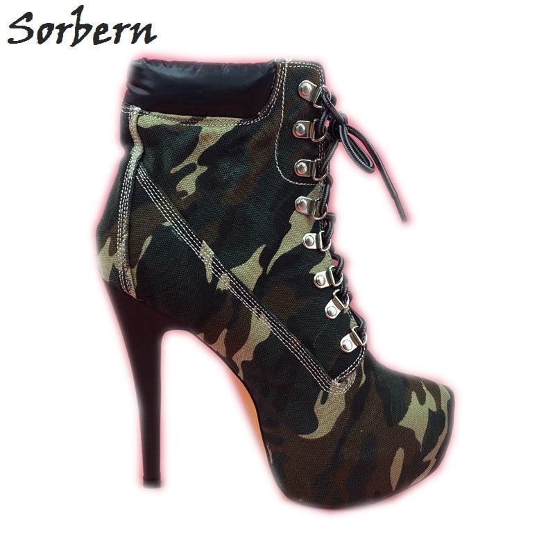 sale retailer 58510 dd810 US $109.0 |Sorbern Frauen Winter Stiefel Leinwand Camouflage Damen Schuhe  Stiefel High Heel Stilettos Australischen Stiefel Frauen Booties Ankle in  ...