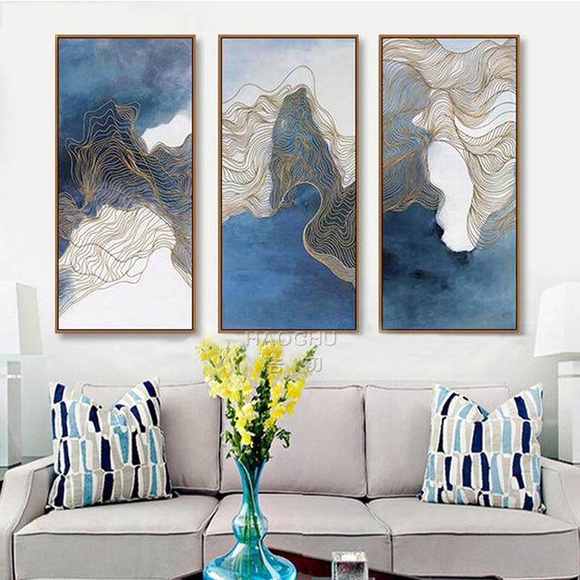 Abstrakte Mix Blau Farbe Nordic Kunst Malerei Leinwand Gold Linien