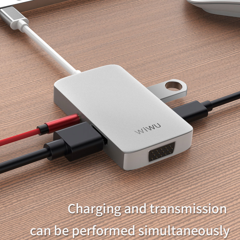 Image 3 - WIWU 5 in 1 USB Hub Multi Ports VGA HDMI Adapter for MacBook Pro Type C Hub 3.5mm Audio USB Splitter for Samsung Huawei USB Hub-in USB Hubs from Computer & Office
